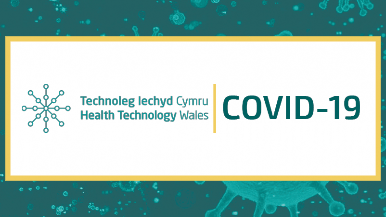 Health Technology Wales logo + Covid19