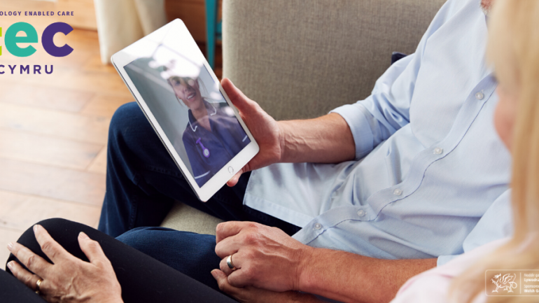 Image or person holding a tablet - nurse on tablet screen