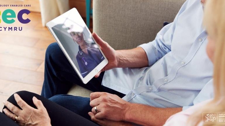 Patients viewing a doctor on an ipad